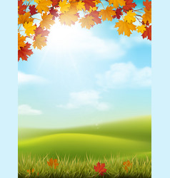 autumn landscape grass hill maple branch vector image vector image