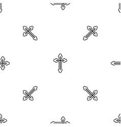 crucifix pattern seamless black vector image