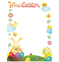 Easter with Bunny and Eggs Frame vector image