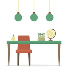 Flat Design Workplace Isolated On White vector image
