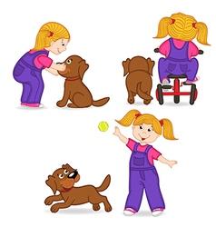 Girl playing with dog vector
