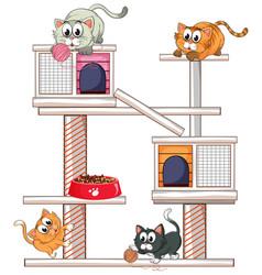 many cats on cat condo vector image