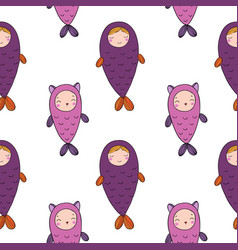 seamless pattern with magic cute fish girl and vector image