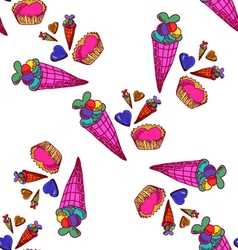 seamless pattern with sweets-4 vector image