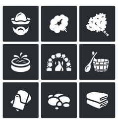 Set of Bath and Sauna Accessories Icons vector image
