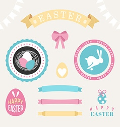Set of Happy easter design elements Eggs ribbons vector image