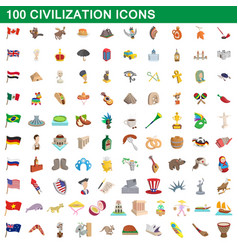 100 civilization icons set cartoon style vector