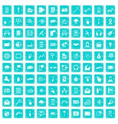 100 mobile icons set grunge blue vector