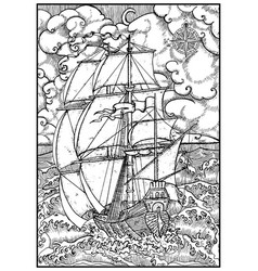 ancient vessel under full sail against stormy sea vector image