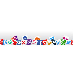 banner social media icons vector image