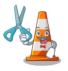 Barber traffic cone on road cartoon shape vector