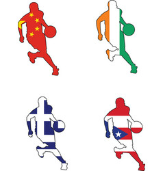 basketball colors of China Ivory Coast Greece Puer vector image
