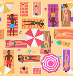 beach seamless pattern top view summer people vector image