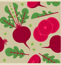 beetroot seamless pattern leaf flower harvest vector image