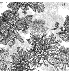Black and white background with chrysanthemums vector