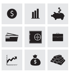 black bank icons set vector image