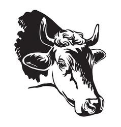 Black contour portrait cow abstract vector