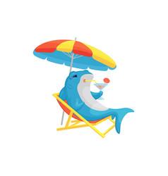 Blue shark sitting on beach cartoon flat vector