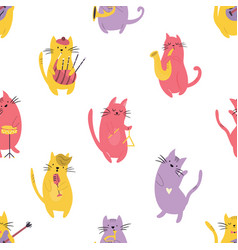 bright seamless pattern with funny cats musicians vector image