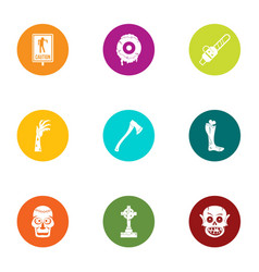 Burial icons set flat style vector