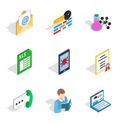 business correspondence icons set isometric style vector image