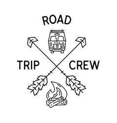 camping line art road trip crew logo design vector image