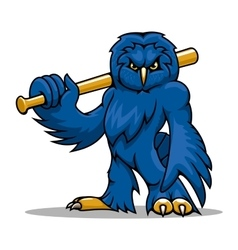 Cartoon blue owl baseball player with bat vector