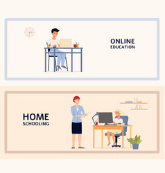 Children home schooling and online education vector