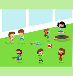 Children playing with hula hoop and trampoline vector