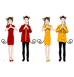 Chinese New Year Monkey People Greeting vector image