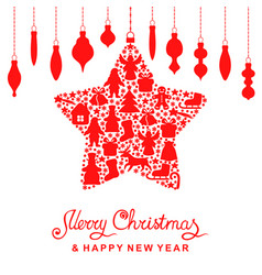 christmas card with decorative star and baubles vector image