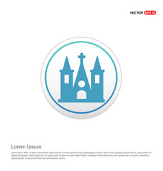church building icon - white circle button vector image