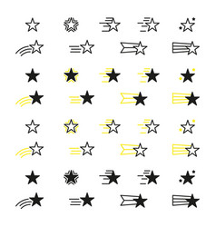 Collection of star icons black linear icons isolat vector