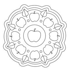 Coloring simple apple mandala vector