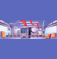Conveyor belt on beverage production factory vector