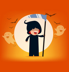 cute death character with old scyhalloween vector image