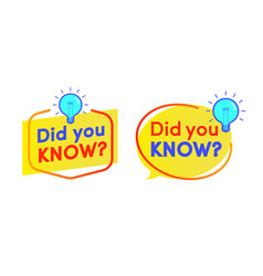 Did you know label with bulb set vector
