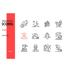 disasters - modern line design style icons set vector image