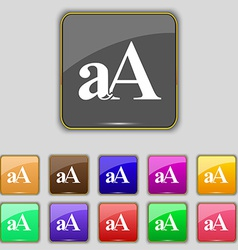 Enlarge font aA icon sign Set with eleven colored vector image