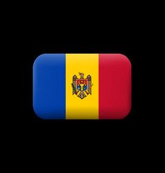 Flag of moldova matted icon and button vector