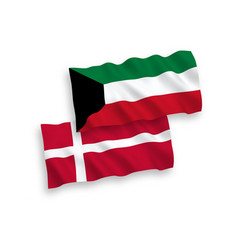 Flags denmark and kuwait on a white background vector