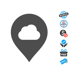 Fog cloud marker icon with free bonus vector
