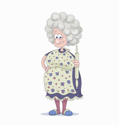 Funny smiling grandmother with gray hair in a vector