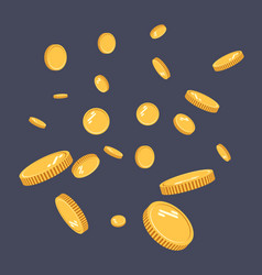 Gold coins explosion flat gold coins vector
