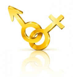 gold male and female symbols vector image