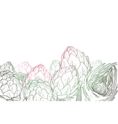 Hand drawn graphic background with artichokes vector