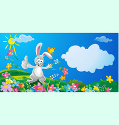 happy bunny throwing flowers nature field with vector image
