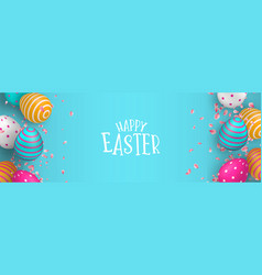 happy easter web banner of eggs and spring flower vector image