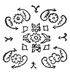 Herati design consists of a rosette between two vector