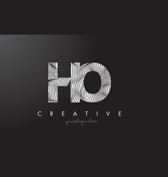 Ho h o letter logo with zebra lines texture vector